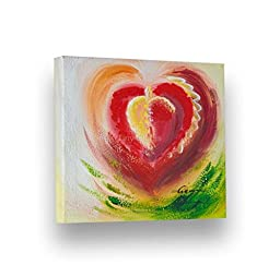 Handpainted Abstract Painting BEAUTIFUL HEART 7''X8'' Stretched Canvas by Lombardi