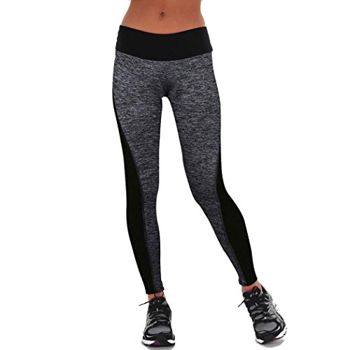 Ouneed® Yoga Sport pants,Donne Sport Pantaloni Athletic Gym Ghette Allenamento Fitness yoga Pantaloni (Grigio, S)