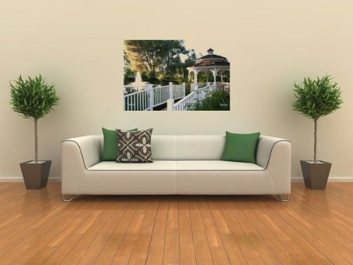 Wallmonkeys Peel and Stick Wall Decals - A Gazebo in a Garden - Removable Graphic