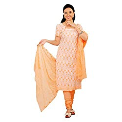 S.V.G. Suit Material With Sequined Work - (Peach)