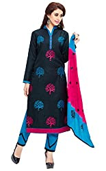 Craftliva Black And Sky Embroidery Cotton Dresss Material