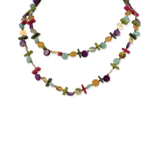 Green Purple Brown Coco and Sequin 40in Necklace - JewelryWeb