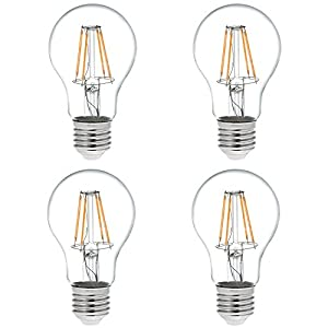 HERO-LED A19 E26/E27 Victorian Style LED Vintage Antique Filament Bulb, Squirrel Cage Nostalgic Tungsten Filament Replacement Incandescent Bulbs, 4-Pack(Not Dimmable)