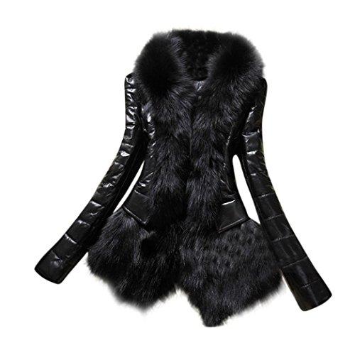 """Elegante Moda, Reasoncool Nuovo progettista donne pelliccia calda del cappotto del collare in pelle giacca spessa cappotto Parka (L-Busto:37.8"""", Nero)"""