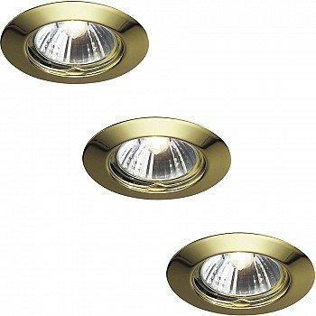 kit 3 faretti da incasso Massive fissi foro di taglio diametro 64mm con 3 lampade GU10 220V 50W incluse (Oro Lucido)