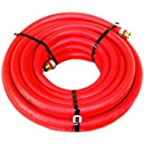 Water Hose Continental (Formerly Goodyear) X 50' RED RUBBER Industrial 200psi With Brass Fittings - Heavy Duty...