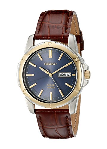 seiko-sne102-mens-quartz-two-tone-blue-dial-brown-leather-strap-watch