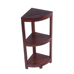Fully Assembled Solid Teak 3 Tier Corner Shelf- Ideal for Shower Bathroom Patio Deck