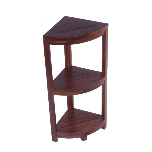 Decoteak Oasis 32-Inch Solid Teak 3 Tier Corner Shelf with Leg Levelers, Rich Dark Brown