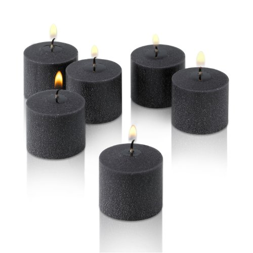 10 Hour Black Unscented Votive Candles Set Of 12 Made In Usa