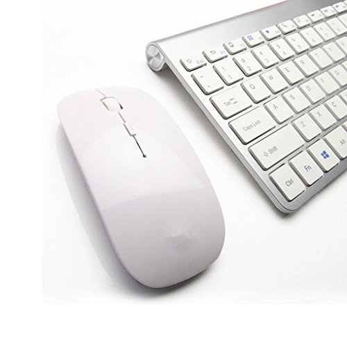 Feccoe 2.4G Ultra Slim Portable Wireless Keyboard and Mouse Combo for Computer,Laptop,Note,Desktop(Silver) (Portable Pc Keyboard compare prices)