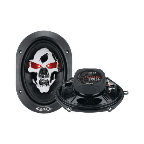 """2) New Boss Sk573 5X7"""" 350W Phantom Skull 3 Way Car Audio Coaxial Speakers Pair"""