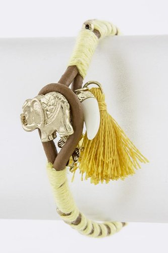 TRENDY FASHION ELEPHANT CHARM BEAD BRAIDED BRACELET BY FASHION DESTINATION | (Yellow) at Amazon.com