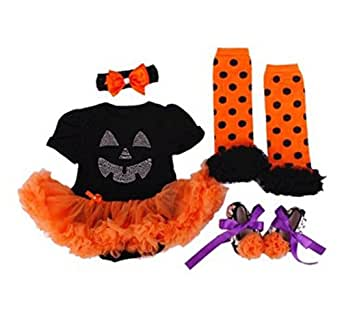 Newborn Infant Baby Girls Pumpkin Halloween Romper Outfits