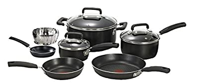 T-fal C111SA Signature Nonstick Dishwasher and Oven Safe Thermo Spot 10-Piece Cookware Set, Black by T-fal