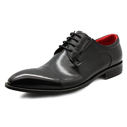 LUCIUS Men's Leather Lace up Medallion Cap-toe Dress Shoes Black Brown