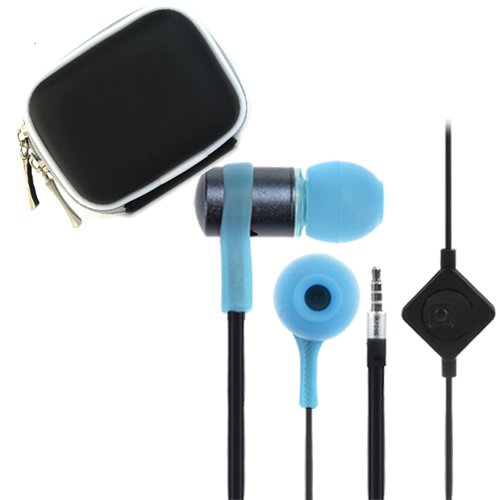 Ikross Blue / Black In-Ear 3.5Mm Noise-Isolation Stereo Flat Cable Tangle Free Earbuds With Microphone + Headset Case For Samsung Galaxy Tab S 10.5 / 8.4, Galaxy Tab 4, Galaxy Tabpro 12.2/ 10.1/ 8.4, Galaxy Tab 3 Kids, Galaxy Note 10/ 8 Tablet Cellphone S