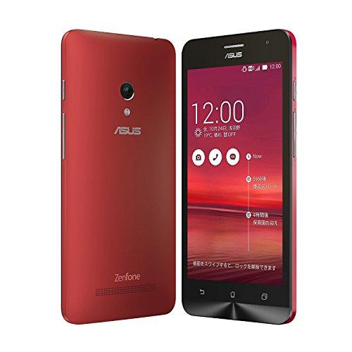 国内正規品ASUSTek ZenFone5 OCN モバイル ONE 音声対応SIMセット( SIMフリー / Android4.4.2 / 5型ワイド / microSIM / LTE) A500KL月額900円~SIMアダプタ+SIMカードケース付 (32GB, レッド)