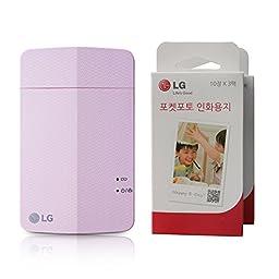 LG Portable Pocket Photo Printer PD251 (Pink) + Two Boxes Of Zink Media Photo Paper (60 Sheets)