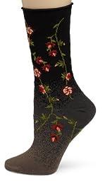 Ozone Women\'s Tibetan Flowers Sock,Black,