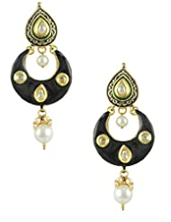 The Art Jewellery Exclusive CZ Diamond Drops With Black Color Drop Earrings For Women