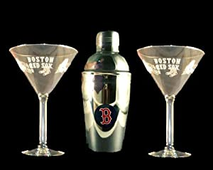 Boston Red Sox Martini Gift Set 2 Glass & Shaker New by Boelter