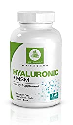 OZ Naturals Hyaluronic Acid MSM Supplement - 120 Veggie Caps - 900 MG - Essential For Healthy Joints, Skin, Hair, Nails & Eye Health - Considered The Most Effective Hyaluronic Supplement Available