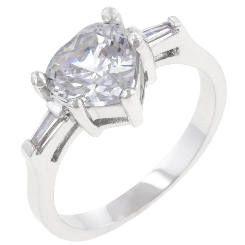 2.5 Carat (ct, cttw, ctw) Heart Cut Silver Tone Cubic Zirconia CZ Anniversary Ring (Size 5,6,7,8,9,10)
