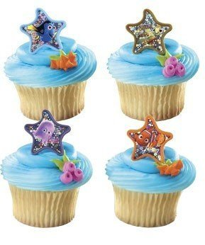 Disney Nemo Starfish Cake Cupcake Decoration Rings - Pack of 24 - 1