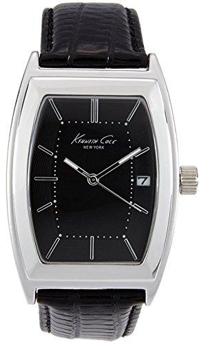 Kenneth Cole uomo in pelle nera orologio analogico al quarzo acciaio della custodia Data di 10019429