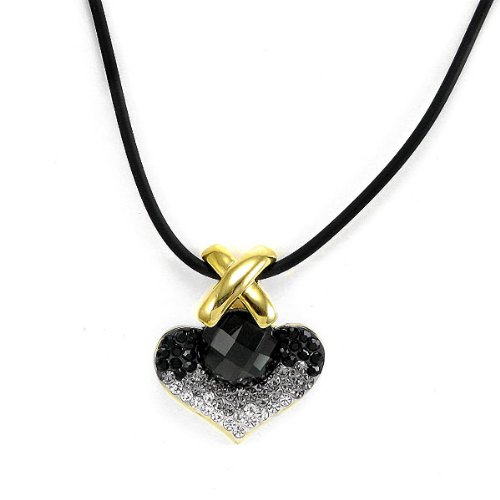 Perfect Gift   High Quality Elegant Black Crystal Glass Necklace with Black and Silver Swarovski Crystals (2870)