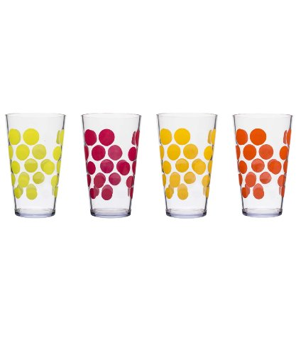 Zak Designs Dot Dot 10-Ounce Water Tumbler, Fresh Color Design, Set Of 4
