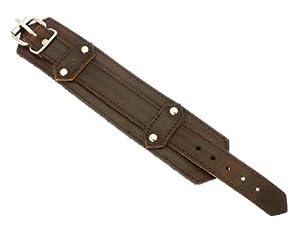 Neptune Giftware Dark Brown Leather Strap Cuff Wrap Around Gothic Wristband Bracelet With Buckle Fastening - 56