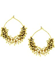 The Jewelbox Antique Gold Plated Cluster Pearl Bali Hoop Earring For Women