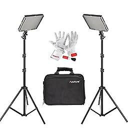 Aputure Amaran (AL-528S + AL-528W) 528 LED Video Light Panel CRI 95+ LED Studio Lighting Kit with 6.5FT Light Stand, carrying case, and Pergear Clean Kit
