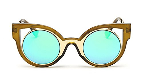 [GAMT Fashion Cat Eye Roud Sunglasses Green Frame Green Lens] (Iron Man Cat Costume)