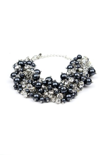 Nina Bridal Peony Charcoal - Black Glass Pearl and Crystal Bracelet - Jewelry Accessory