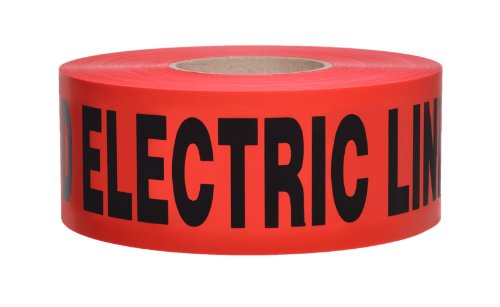 """Presco B3104R6-658 1000' Length X 3"""" Width X 4 Mil Thick, Polyethylene, Red With Black Ink Non-Detectable Underground Warning Tape, Legend """"Caution Buried Electric Line Below"""" (Pack Of 8)"""