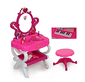 (DRPW-P) - deAO Princess Style Dressing Table with Piano & Free Stool (Pink)