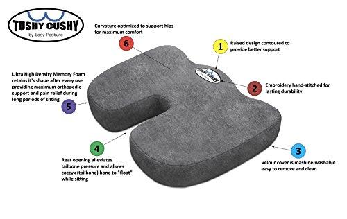 Tushy Cushy Chair Pad Seat Foam Cushion Hemorrhoid Pain