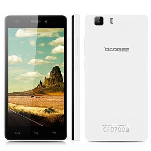 Doogee X5 – Smartphone Libre 3G Android 5.1 (Quad Core, 5.0″ IPS 1280*720 HD, 1GB RAM, 8GB ROM, 5.0MP Cámara, Dual SIM, GPS, OTG) Celular (Blanco)