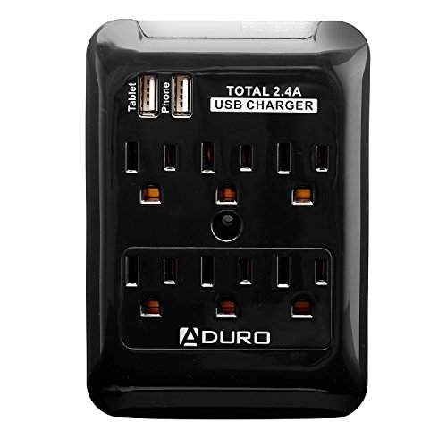Aduro Surge Slim Protector (6 Ac & 2 Usb) 2.4 Amp Output For Iphone 6 / 5S / 5C / 5 / 4S / 4 / 3Gs, Ipad 2 / 3 / 4 / Air / Mini, Samsung Galaxy S5 / S4 / S3 / Note 2 / Note 3 / Tab 2 / Tab Pro, Blackberry, Htc One / M8 / Maxx, Motorola (Black)