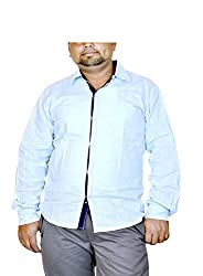 Routeen Men's Blue Slim Fit Shirt (SMRCTNLCD101S1_L)