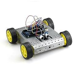 Sainsmart Sensor Shield V5 + Mega2560 + 4wd Mobile Platform Silver + Dual H Bridge Stepper Motor Driver + Hc-sr04, Ultrasonic Distance Sensor for Arduino UNO Mega R3 Mega2560 Duemilanove Nano Robot
