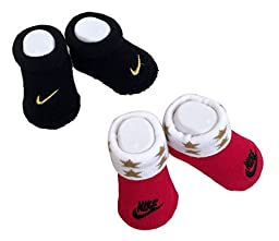 Nike Infant 0-6 Months New Born Baby 2 Pair Booties Black/Red