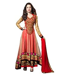 Clickedia Women Net Beige & Red Anarkali Suit- Dress Material