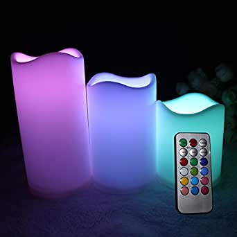 """Flameless Remote LED Candles -12 Color Settings - Indoor Outdoor - Set of 3 with Remote Control and Timer - Height 3"""" 4"""" & 5"""" - Diameter 3"""" (Batteries Included)"""