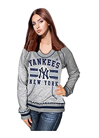 Majestic Ladies Plus Size Yankees Slugger Pullover Hoodie by Majestic