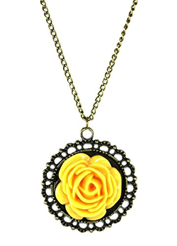 Katgi Fashion Retro Classic Charm Yellow Rose Pendant Necklace