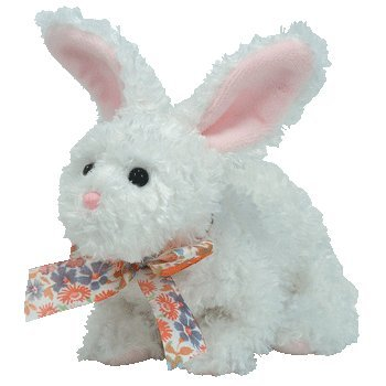 TY Beanie Babies Nibble  - white rabbit - 1